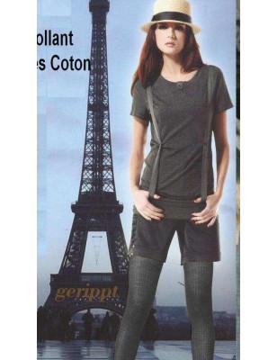 Collant Cronert Coton à Cote Gris