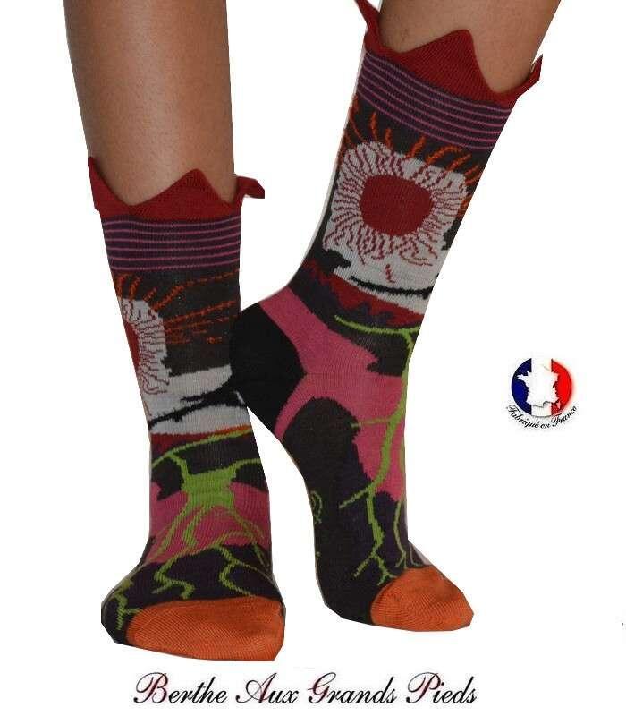 8bea811e248 Chaussettes fleurs Pies Berthe Aux grands Pieds Laine Berthe aux...