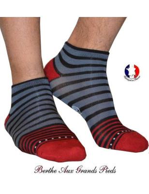 Socquette Bouclette Homme Berthe aux grands pieds rayures chics