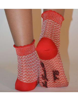 Socquette fil  Berthe aux grands pieds vagues rouges