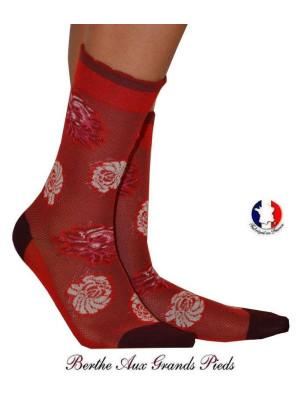 Chaussettes femme fil Berthe aux grands pieds Roses Rouges