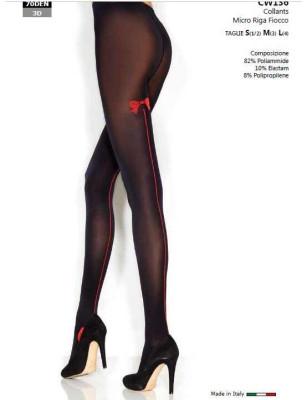 Collant noir opaque couture rouge Voilà