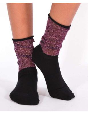 chaussettes coton rebords lurex violet
