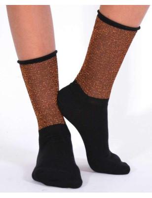 chaussettes coton rebords lurex bronze