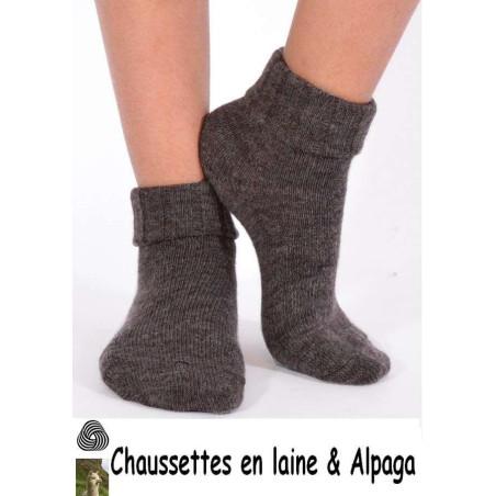 Chaussettes laine et alpaga bord confort marron