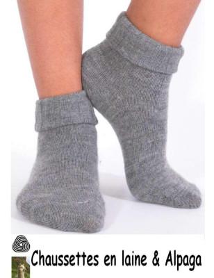 Chaussettes laine et alpaga bord confort gris