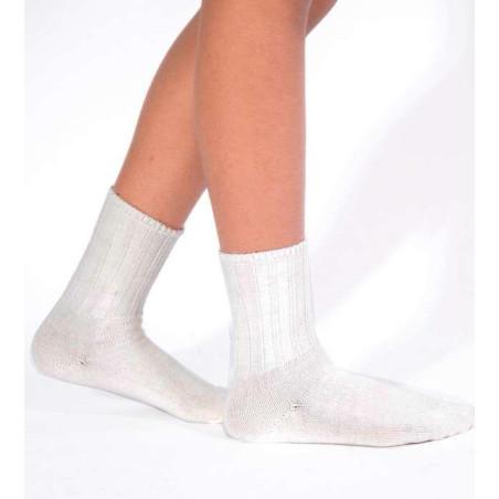 Chaussettes laine et alpaga bord confort ivoire
