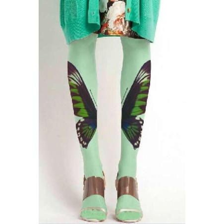 Collant Imprimé Papillon Gaze Vert