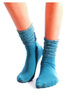 Chaussettes rebord Plissée lurex turquoise