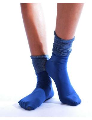 Chaussettes rebords plissées lurex bleues