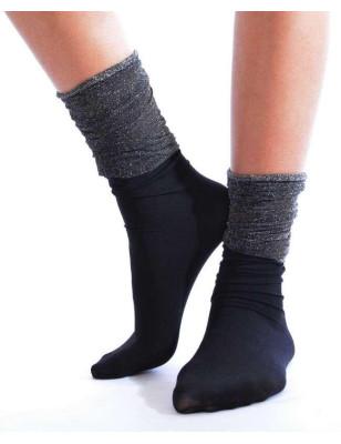 chaussettes rebords plissé Lurex Noir