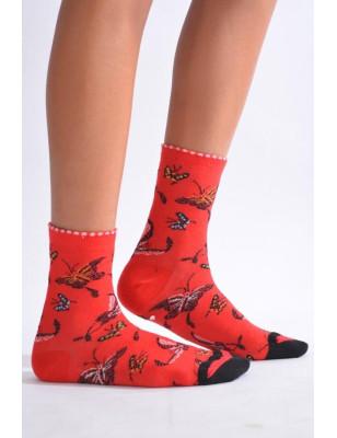 Chaussettes Fil de joie rouge Papillons