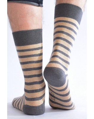 Chaussettes Hom rayures ego beige