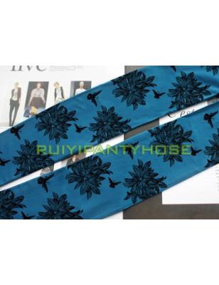Collant opaque imprimé Esprit floral cobalt