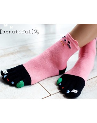 Chaussettes 5 doigts matoux roses