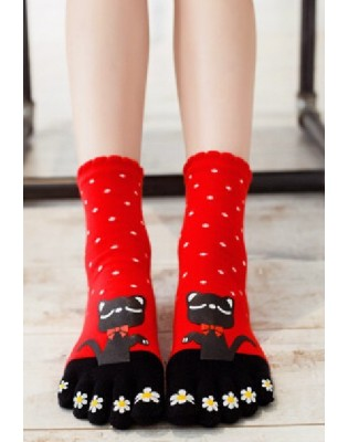 Chaussettes 5 doigts rouge chats