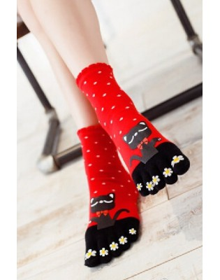 Chaussettes 5 doigts rouge chats profil