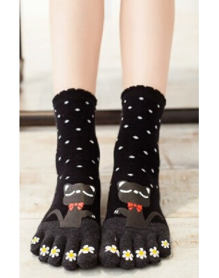 Chaussettes 5 doigts chats noeuds papillons