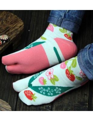 chaussettes japonaise Fraises fleuries