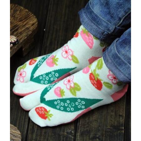 chaussettes tabi coton fruits fleuris