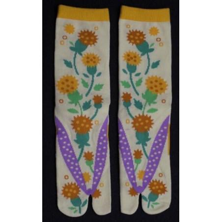 Chaussettes Japonaises bouquet fleuri jaune