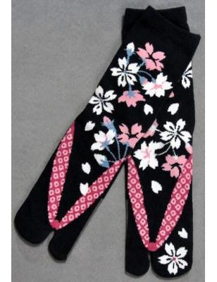 Chaussettes japonaises noires bouquet fleuries