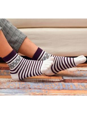 chaussettes à 5 doigts violette rayures