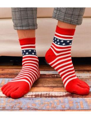 chaussettes à 5 doigts rouges rayures