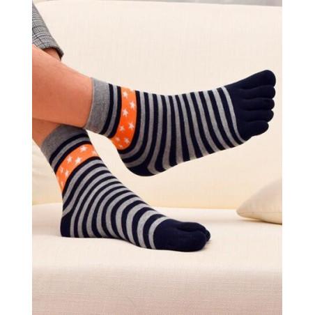 chaussettes à 5 doigts grises rayures