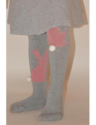 Collant lapin gris coton asymétrique enfant