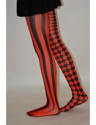 Collant asymétrique rayures et losanges noir rouge