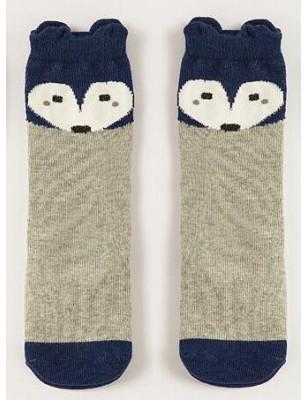 Chaussettes chaussons renard enfants gris bleu