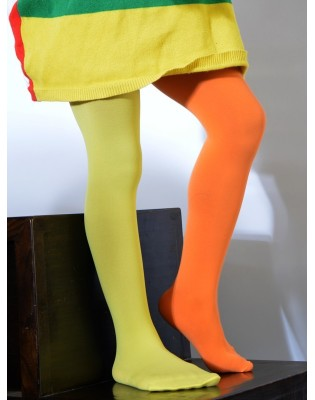 Collant enfant asymétrique orange et citron
