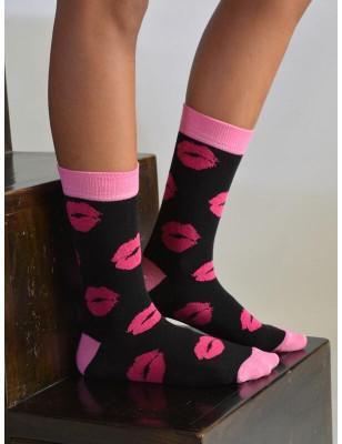 chaussettes Noire  Bisoux roses