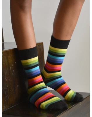 Chaussettes multi-rayures multicolore