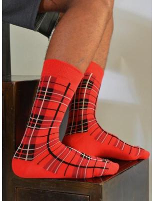 chaussettes ecossais rouge unisex