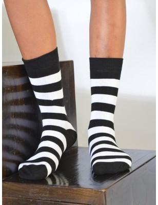 chaussettes rayures noires et blanches coton
