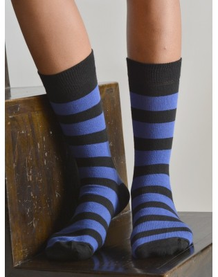 Chaussettes rayures jeans coton