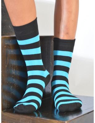 Chaussettes rayures noires et turquoise coton