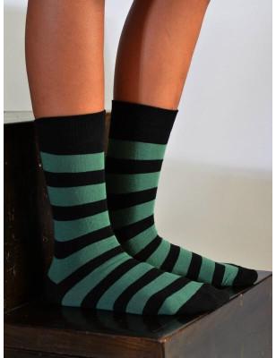 Chaussettes rayures vertes noires coton