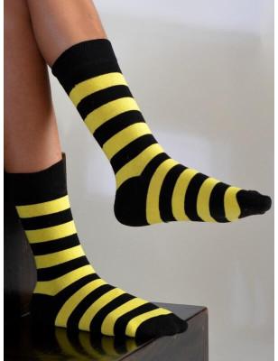 Chausettes rayures jaunes noires coton