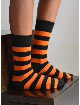 Chaussettes rayures orange noires coton