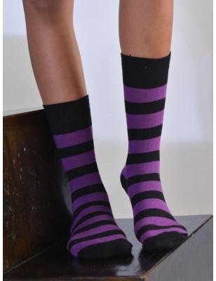 chaussettes rayures noires violettes