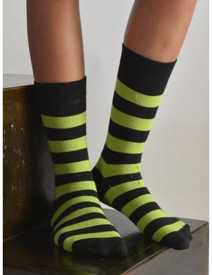 Chaussettes rayures flo vertes noires coton