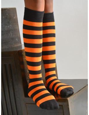 Mi bas rayures bicolores oranfge et noires