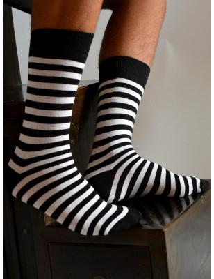Chaussettes Rayures noires et blanches