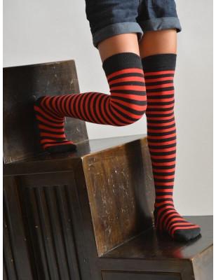 Jambière Rayures Bicolores Rouges et noires