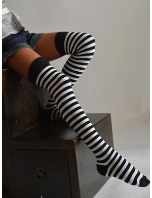 Jambière Rayures bicolores noires et blanches