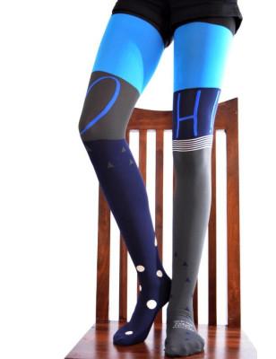 Collant Berthe aux grands pieds Asymétrique turquoise