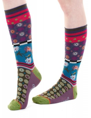 chaussettes unisex patchwork fleurs et perles unisex